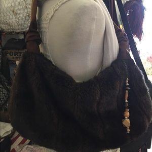 Handbags - DARK BROWN faux fur shoulder 👜💋💙